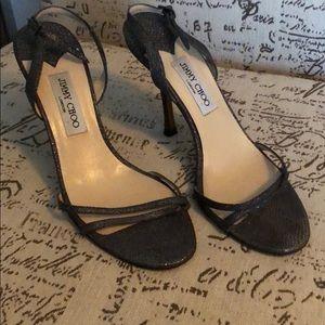 GUC Jimmy Choo anthracite metallic sandals.